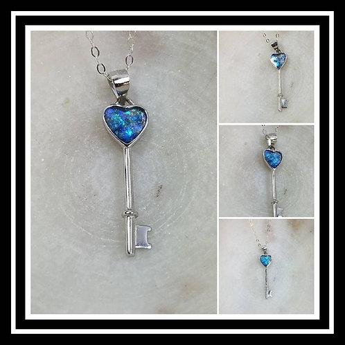 Memorial Ash Heart Key Sterling Silver Necklace/Cremation Pendant/ Pet Memorial
