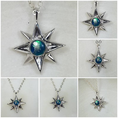 Memorial Ash North Star Sterling Silver or 10kt White Gold Cremation Pendant /Me