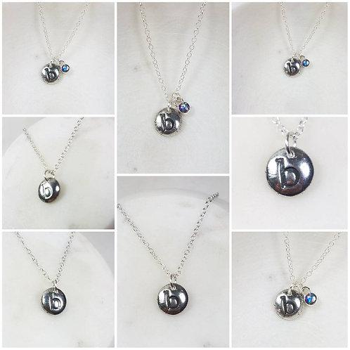 Memorial Ash Cremation Initial Necklace/Precious Pure Silver Pendant Necklace/Me