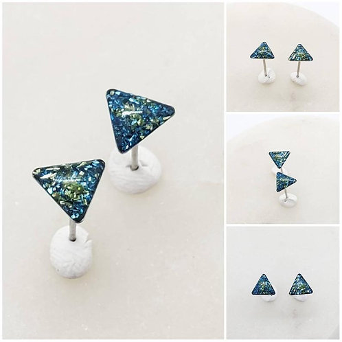 Memorial Ash Stainless Steel Triangle Earrings/Memorial Earrings/Pet Memorial