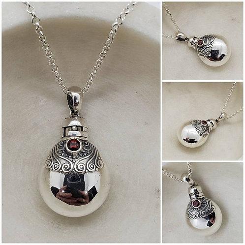 Memorial Ash Sterling Silver Garnet Cremation Urn Bottle Necklace/Cremation Urn