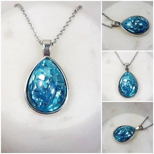 Memorial Ash Pendant Necklace/Pet Memorial/Tear Drop Necklace/Cremation Jewelry/