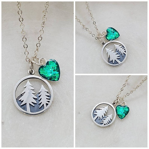 Memorial Ash Sterling Silver Pine Tree Sterling Silver Heart Pendant Necklace/