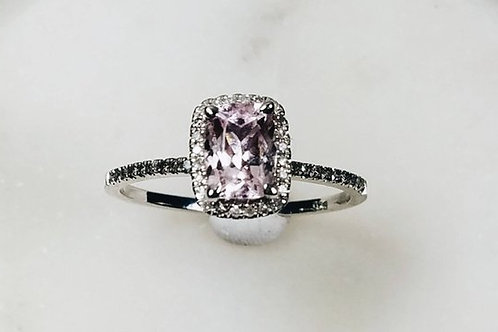 Studiodragonfly19  Ash Pink Morganite 10kt Sterling Silver Diamond Ring