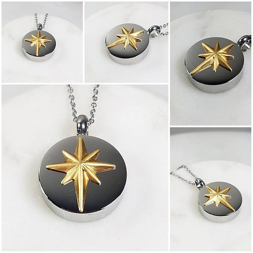 Memorial Ash Stainless Steel Cremation Northstar Urn Necklace/Cremation Pendant/