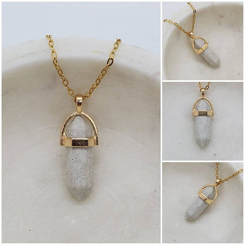 Memorial Ash Concrete Crystal Necklace/Cremation Necklace/Pet Memorial Jewelry