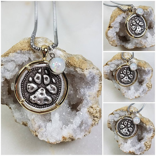 Memorial Ash Silver Plated Paw Pendant Necklace /Cremation Necklace/Pet Ash Memo