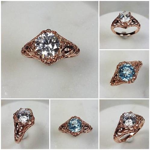 Studiodragonfly19 Cremation Memorial Ash Stone Rose Gold Filled Vintage Ring