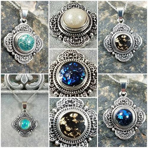 Memorial Ash Snap Charm Necklace/ Cremation Necklace/ Pet Memorial Jewelry/100+C