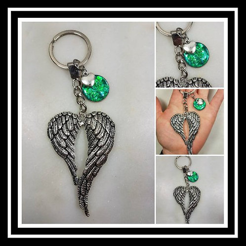 Memorial Ash Wing Heart Keychain