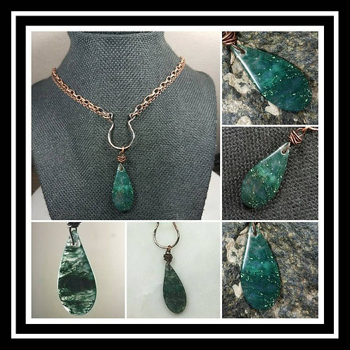Memorial Cremation Ash Hammered Copper Moss Agate Artisan Necklace/Patina or Bri