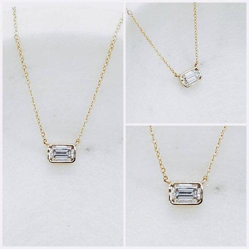 Studiodragonfly19 Memorial Ash Minimalist 14k Gold Baguette Bezel Necklace