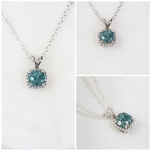 Memorial Ash Silver Gold Diamond Pendant Necklace /Cremation Necklace