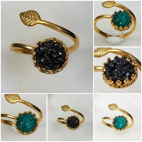Memorial Ash 24k Gold Plated Leaf Druzy Crown Ring/Memorial Ring/Memorial/Cremat