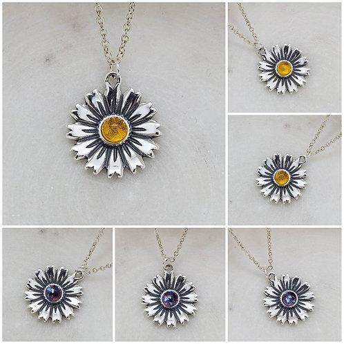 Memorial Ash Cremation Sterling Silver Daisy Pendant/Memorial Jewelry/Ash