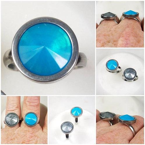 Cremation Memorial Ash Stainless Steel Rivoli Stone Ring/Memorial Ring/Memorial/