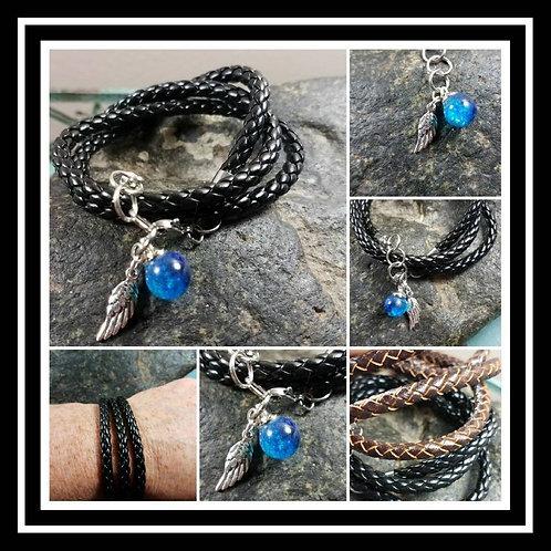Sphere Memorial Ash Leather Charm Memorial Jewelry/Ash Bracelet /Pet Memorial/ C