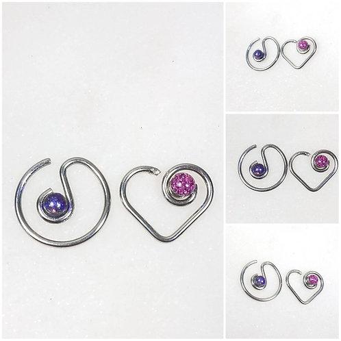 Stainless Steel Memorial Ash Ear Daith Body Piercing/Memorial Jewelry/Pet Memori