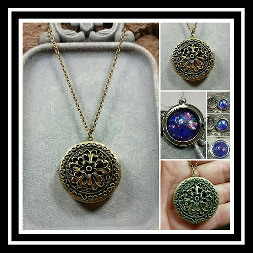 Bronze Memorial Ash Flower Locket Pendant Necklace/Cremation Pendant/Pet Memoria