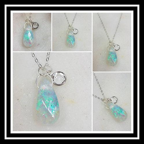 Memorial Ash Crystal Pendant Necklace/Cremation Pendant/Pet Memorial Jewelry/Cre