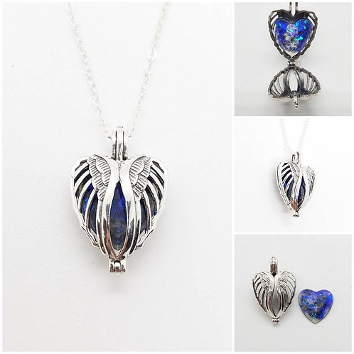 Memorial Ash Sterling Silver Angel Wing Locket Pendant Necklace
