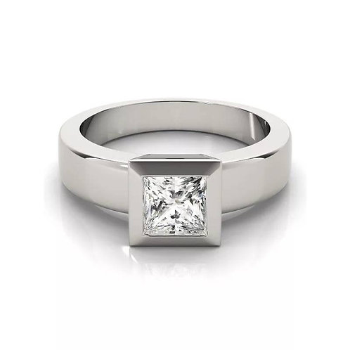 Studiodragonfly19 Cremation Princess Cut Sterling Silver CZ Stone Ring