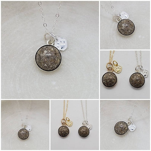 Sterling Silver Round Bezel Paw Charm Memorial Ash Pendant/Memorial Ash Jewelry