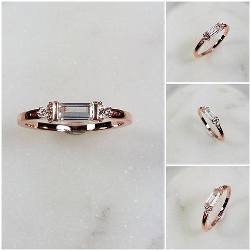 Studiodragonfly19 Memorial Ash Minimalist 10k Gold CZ Baguette Ring