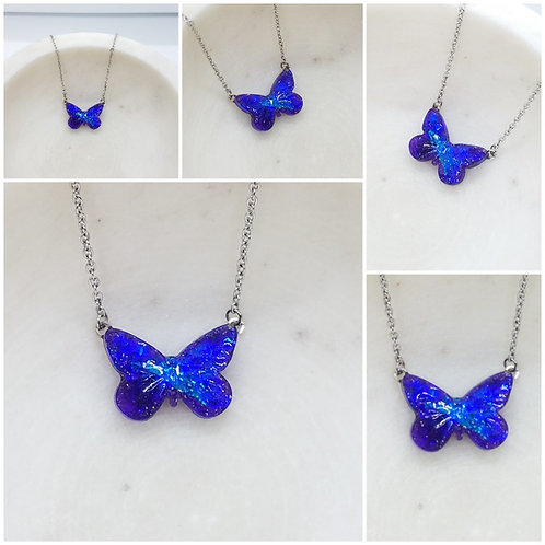 Memorial Ash Butterfly Pendant Necklace /Cremation Neckla