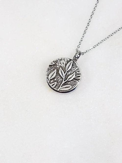 Memorial Ash Stainless Steel Cremation Round Leaf Stem Urn Necklace/Cremation Pe