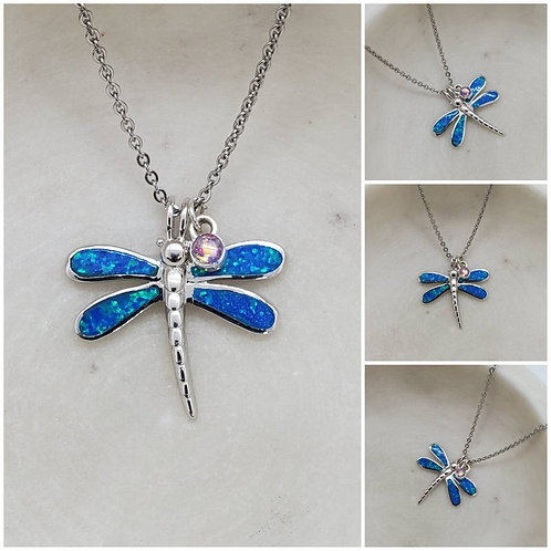 Memorial Ash Sterling Silver Opal Butterfly Pendant Necklace/Cremation Necklace