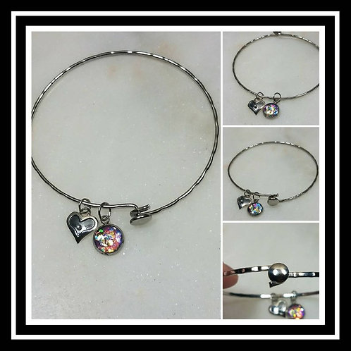 Memorial Ash Stainless Steel Bracelet Sterling Silver Heart Paw /Cremation Charm