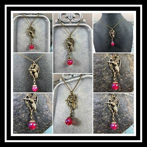 Memorial Ash Silver or Bronze Hummingbird Pendant Necklace/Cremation Pendant/ Pe