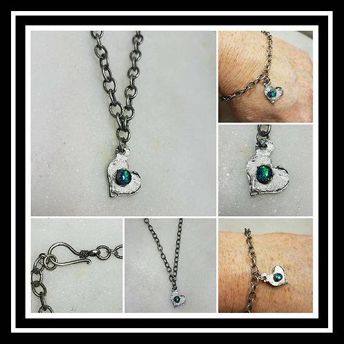 Memorial Ash Heart Charm Memorial Jewelry/Ash Bracelet Pet Memorial/ Cremation J