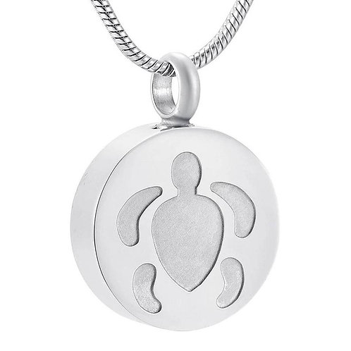 Memorial Ash Stainless Steel Cremation Praying Turtle Urn Necklace/ Pendant/Crem
