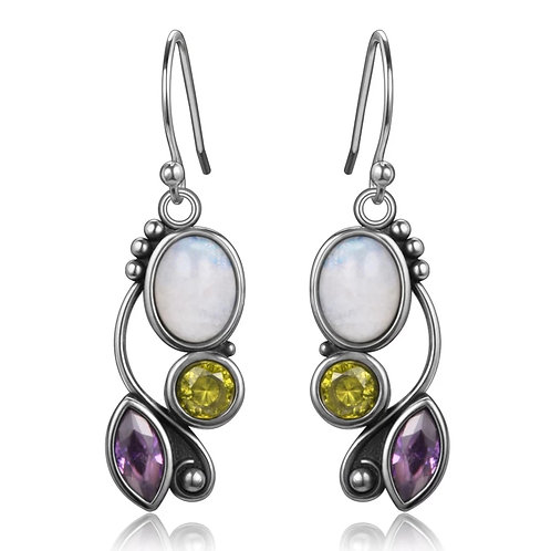 Memorial Cremation Sterling Silver Moonstone and Gems Stone Earrings