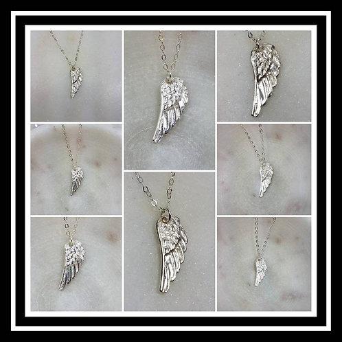Memorial Ash Cremation Angel Wing Necklace/Precious Pure Silver Pendant Necklace