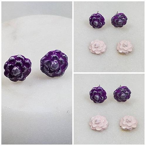 Memorial Ash Clay Flower Earrings/Cremation Earrings/Pet Memorial Jewelry/Clay C