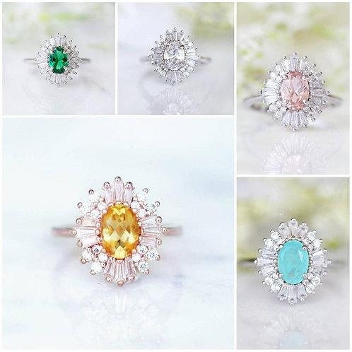 Studiodragonfly19 Memorial Ash Oval Baguette Gem Stone Ring/Memorial Ash Jewelry