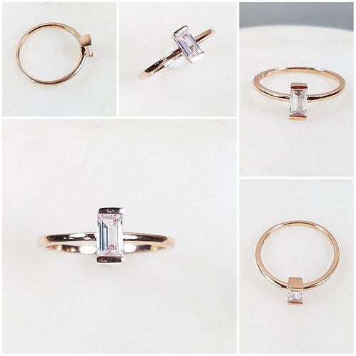 Studiodragonfly19 Memorial Ash Minimalist Sterling Silver Baguette Bezel Ring/M