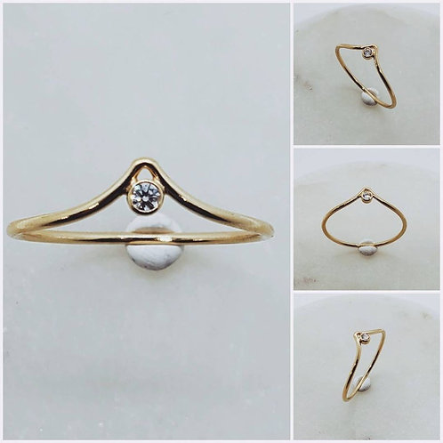 Studiodragonfly19 Cremation Memorial Ash Stone 14k Yellow Gold Filled Ring