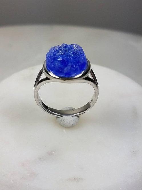 Sterling Silver Memorial Ash Druzy Ring/ Sentimental Jewelry