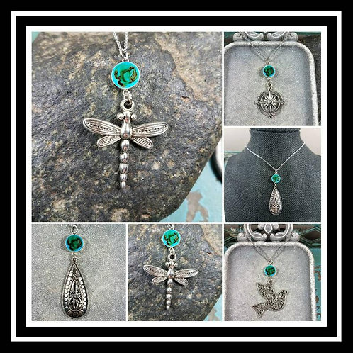 Memorial Ash Pendant Necklace/Cremation Jewelry/80+ colors/15 Charms Style Optio
