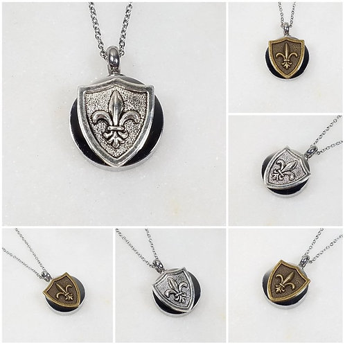 Memorial Ash Stainless Steel Cremation Round Fleur di Lis Urn Necklace/Cremation