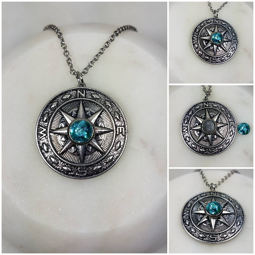 DYI Memorial Ash Cremation Compass Necklace