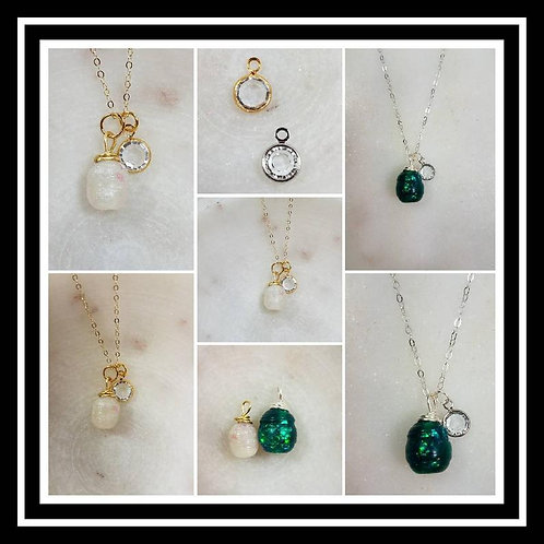 Memorial Ash Fresh Water Pearl Style Crystal Pendant Necklace/Cremation Memorial