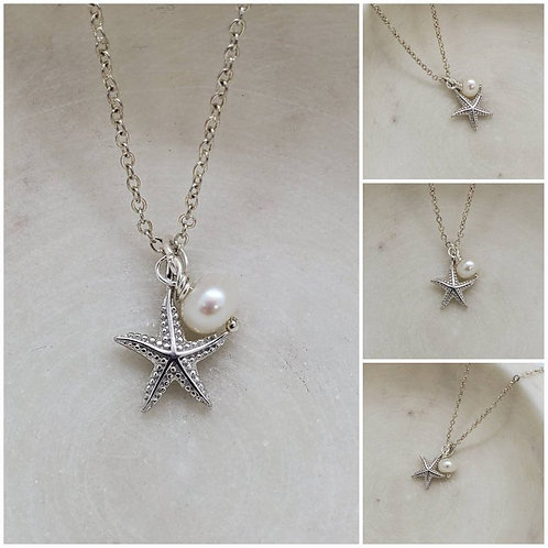 Studiodragonfly19 Cremation Sterling Silver Starfish Fresh Water Pearl Memorial