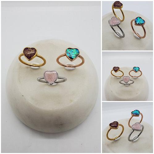 Memorial Ash Heart Stainless Steel Ring/Memorial Ring/ Memorial/Cremation Ring
