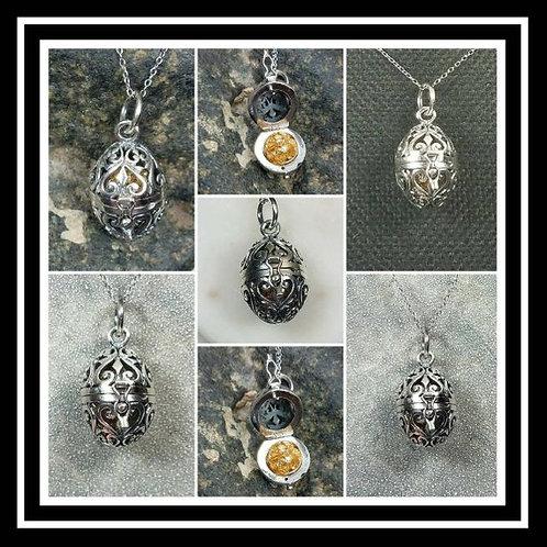 Memorial Ash Sterling Silver Heart Egg Locket Pendant Necklace