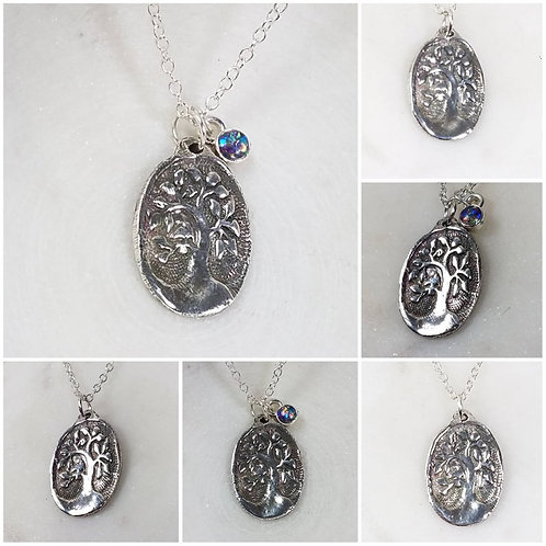 Memorial Ash Cremation Tree of Life Necklace/Precious Pure Silver Pendant Neckla